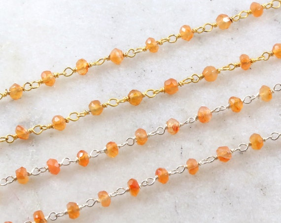 Dainty Carnelian Gemstone Rosary Beaded Wire Wrapped Chain Sterling Silver or Vermeil  / Sold by the Foot / Bulk Unfinished Chain /