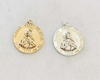 Sacred Heart Of Jesus Round Circle Medallion 17mm x 15mm 14K Gold Filled or Sterling Silver Religious Charm Catholic, Christianity Pendant