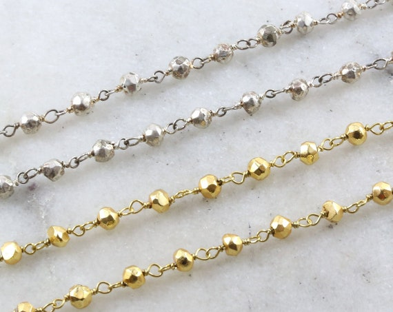 Dainty Gold or Silver Plated Pyrite Rosary Beaded Wire Wrapped Chain Sterling Silver or Vermeil  / Sold by the Foot / Bulk Unfinished Chain