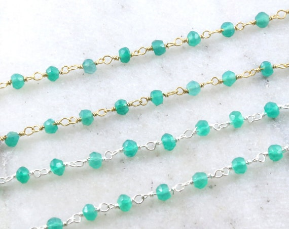 Dainty Green Onyx Gemstone Rosary Beaded Wire Wrapped Chain Sterling Silver or Vermeil  / Sold by the Foot / Bulk Unfinished Chain /