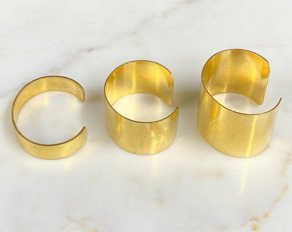 Smooth Raw Brass Cuff Bracelet Choose Your Size Small, Medium, or Large, Ready to Wear Cuff