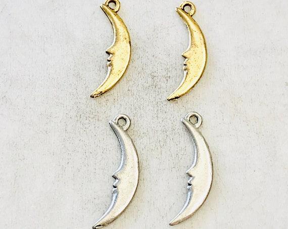 2 Pieces Pewter Base Metal Long Crescent Moon Silhouette Charm Celestial Pendant Antique Gold, Antique Silver
