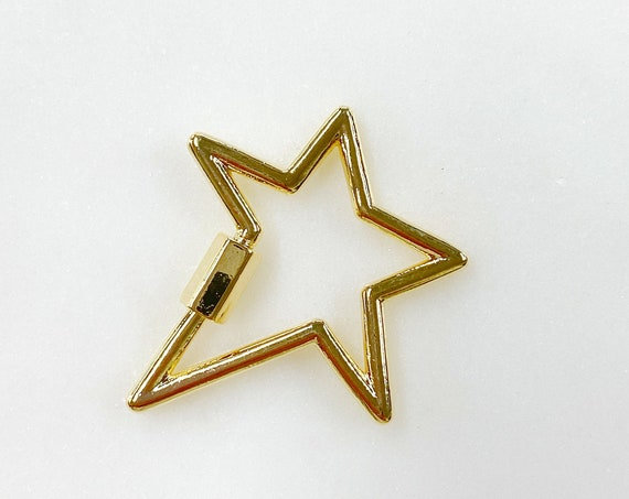 Super Star Carabiner Screw Clasp Gold Plated Necklace Connector Clasp