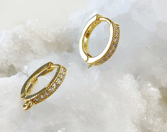 Small 1 Pair Shimmering Cubic Zirconia Pave Hoop Earrings, Gold Plated Earring, Hoop Component- Sold as a Pair