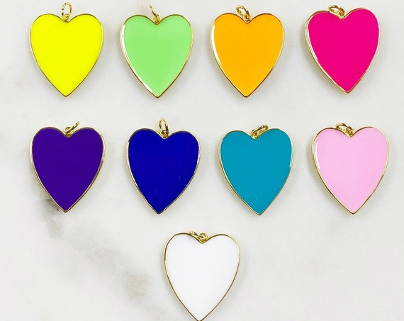 Large Vibrant Heart Charm Choose Your Color Enamel Gold Plated Love Charm Jewelry Making Trendy Love Heart Charms
