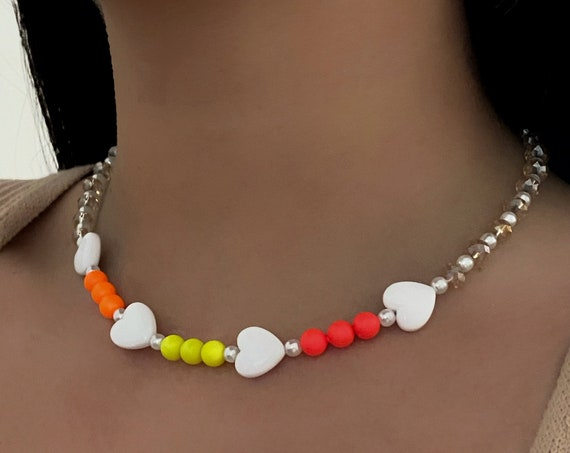Love Me Neon Charm Necklace Heart Beaded Crystal Pearl Charm Handmade Ready To Wear Necklace