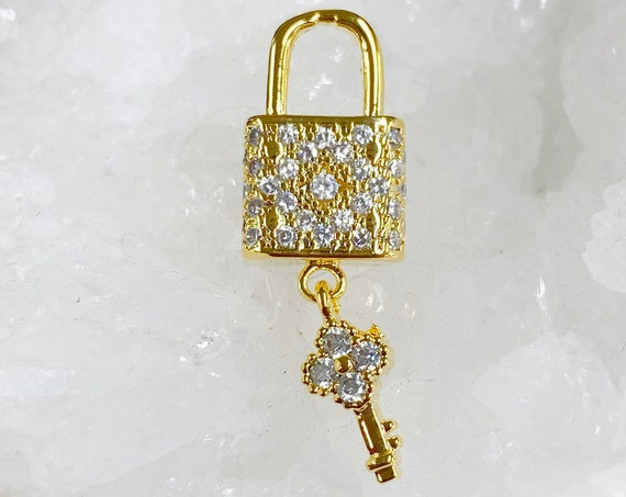 1 Piece CZ Pave Lock & Key Charm, Gold Plated Attached Lock And Key Unique Charm