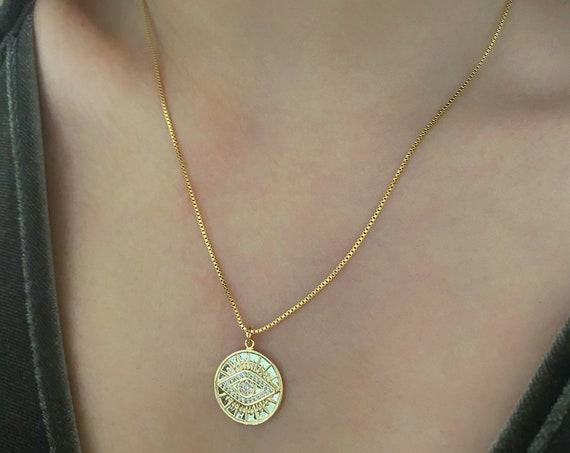 Golden Evil Eye Necklace