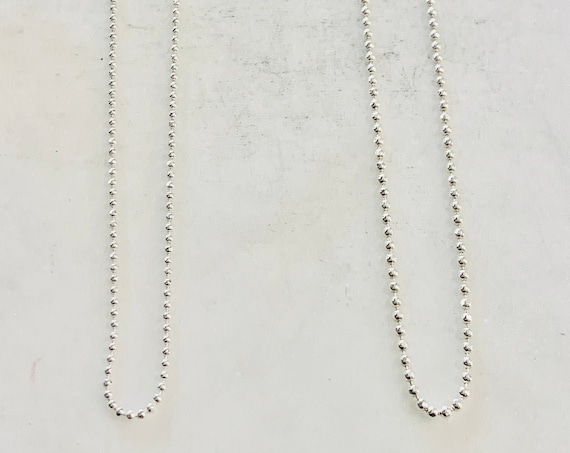 Ready To Wear Finished Diamond Cut Faceted Ball Chain  Sterling Silver  1.2mm and 1.5mm  Finished Chain 16in and 18in Ready Made Necklace