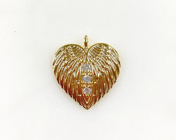 1 Piece Unique Angel Wing Gold Plated CZ Pave Heart Charm Textured Concaved Heart Pendant Charm