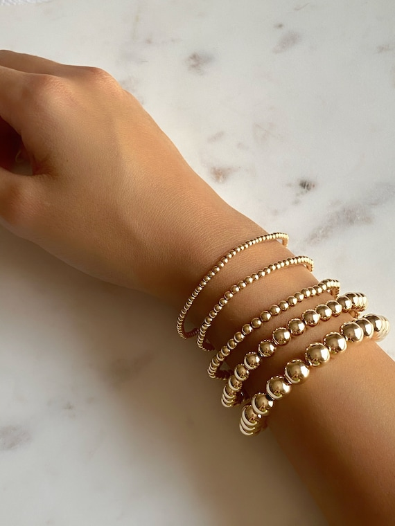 Ready To Wear 14K Gold Filled Beaded Ball Bracelets in 3MM, 4MM, 5MM, 6MM or 8MM Bead Size