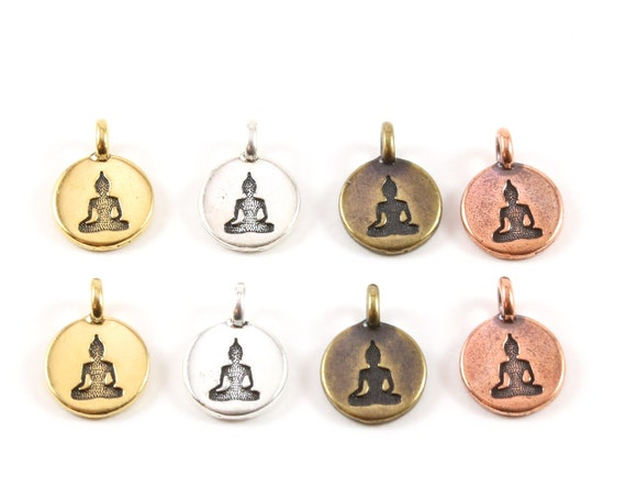 2 Pieces Buddha Stamped Embossed Coin with Bail Pewter Base Metal Charm Pendant Religious Spiritual Buddhist, Gold, Silver, Brass, Copper