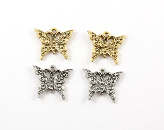 2 Pieces Large Pewter Flying Butterfly Wings Charm Fantasy Pendant Inspirational Pendant,  Antique gold, Antique silver
