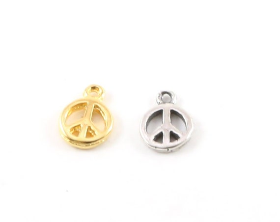 Teeny Tiny Peace Sign Charm in Sterling Silver or Vermeil Gold Hippie Love Pendant