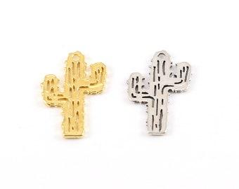 desert wild west cacti 18k rose gold over 925 sterling silver  mini cactus plant pot pendant Small shiny rose goldCactus Charm vermeil