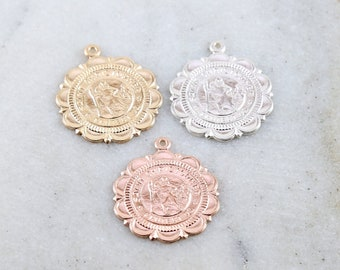 Saint Christopher Medallion Scalloped Edge, Decorative Edge,Round Coin Pendant in Sterling Silver, 14K Gold Filled, Rose Gold Catholic Charm