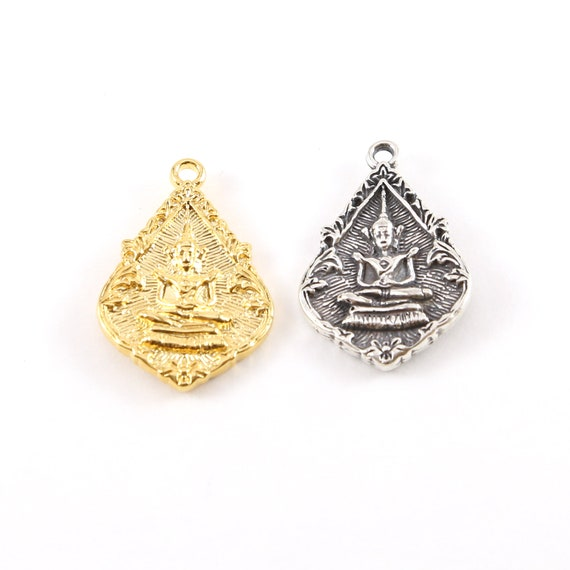 Double Sided Buddha Pointed Teardrop Detailed Yoga Pendant Ohm Meditation Mantra Charm Detailed Religious in Vermeil Gold or Sterling Silver