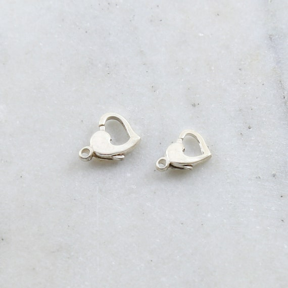 Sterling Silver .925  Heart Trigger Clasp Choose your Size 12mm x 8mm or 13mm x 10mm Jewelry Making Supplies Chain Findings Sturdy