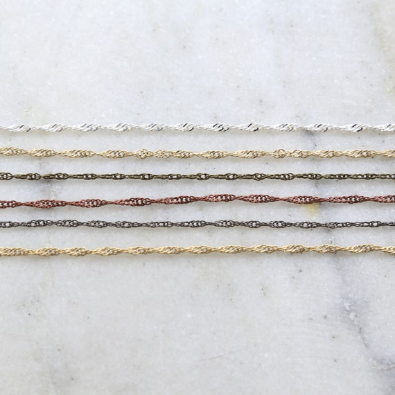 Base Metal Dainty Minimal Twisted Chain in Shiny Silver and Gold, Antique Copper, Brass, Gunmetal/ Chain by the Foot