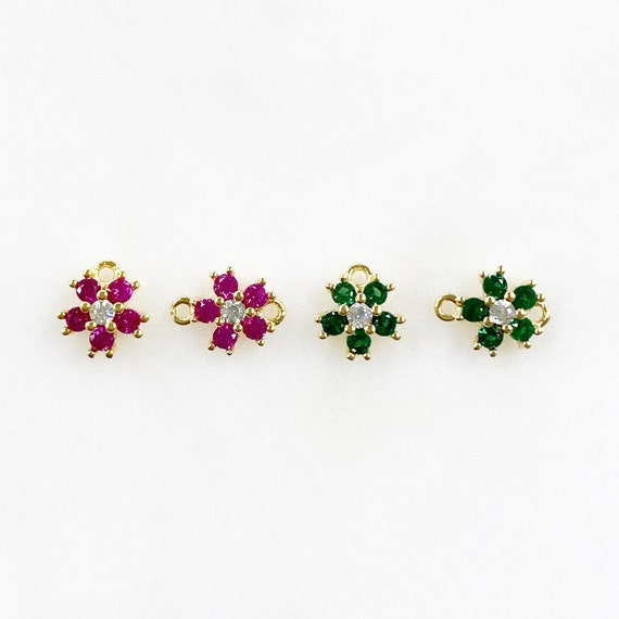 Tiny Cubic Zirconia Pavé Green or Ruby Flower Charm Choose 1 Loop or 2 Loops Jewelry Making Flower Charms CZ Gold Plated Charm