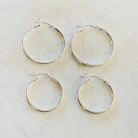 1 Pair Medium 25mm or 30mm  Sterling Silver Thick Flex Tube Hoop Earrings Earring Wires Earring Hook Component