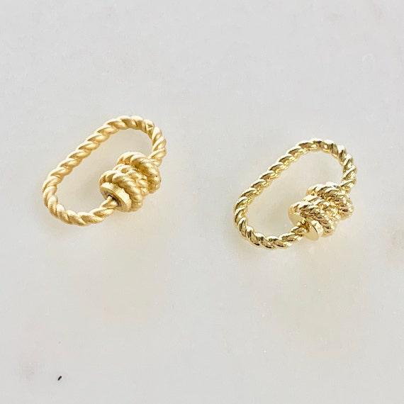 Rope Style Carabiner Screw Clasp Necklace Connector Jewelry Supply Matte or Shiny Gold Plated