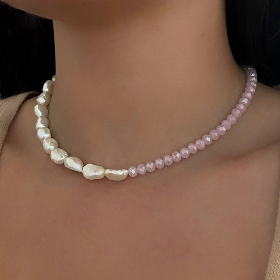 Half & Half Crystal Pearl Charm Necklace Shimmering Blush Crystal Beads Freshwater Pearls Handmade Ready To Wear Necklace
