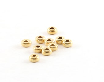 10 Pieces 3mm Smooth Pony Rondelle Seamless 14K Gold Filled Spacer Beads