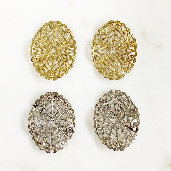 2 Piece Filigree Gold or Silver Plated Brass Medallion Choose Your Color Unique Jewelry Making Supplies