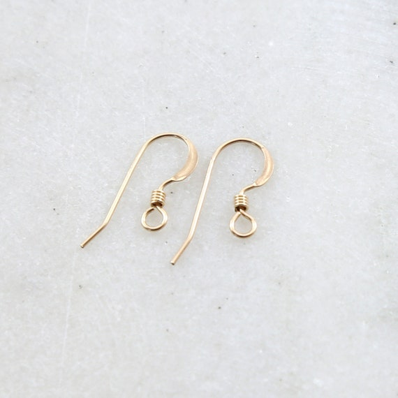 1 Pair 14K Gold Filled French Hook Ear Wire with Coil Flattened Edge Earring Wires Earring Hook Component