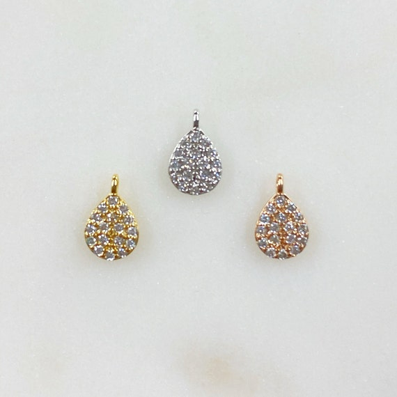 Teeny Tiny CZ Oval Drop Charm Choose Your Color Gold, Silver, Rose Gold Mini Cubic Zirconia Rhodium Plated Charm