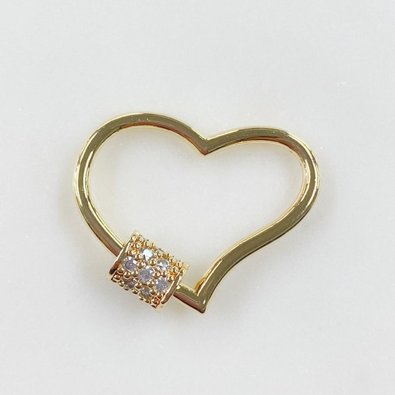 Curved Heart Shaped Screw Clasp CZ Covered Screw Detail