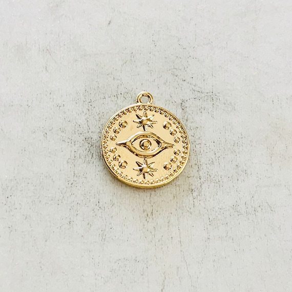 Round Evil Eye Medallion Coin with Stars Gold Plated Delicate Charm Religious Pendant Jewelry