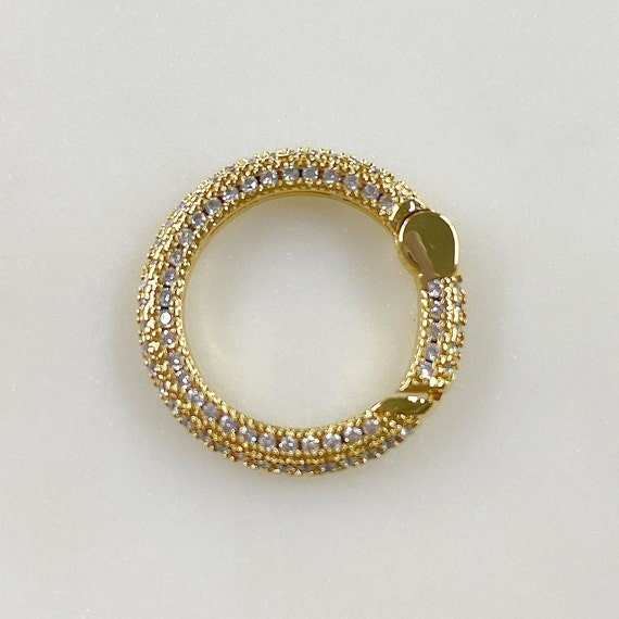 Circle Shaped CZ Covered Push Gate Clasp Gold Plated Unique Clasp