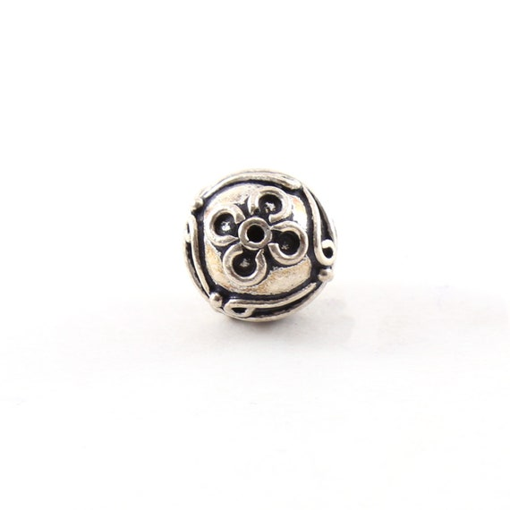 Bali Style Large Sterling Silver Daisy Flower Patterned 13mm Spacer Bead