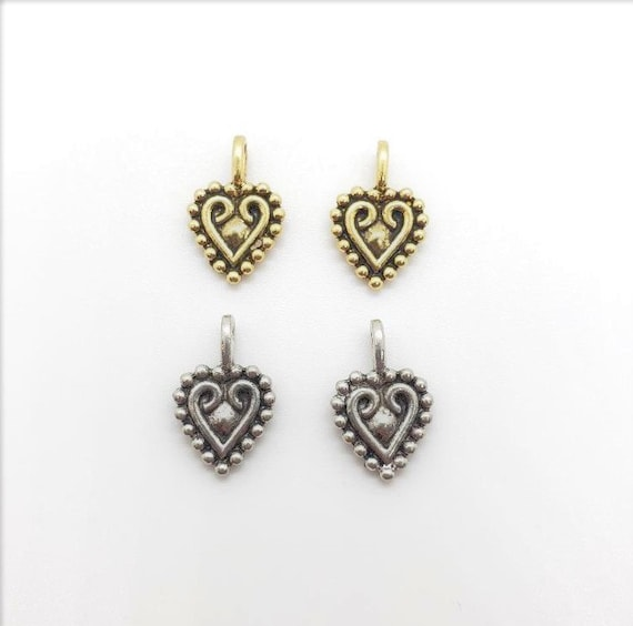 2 Pieces Pewter Metal Heart Swirled Detailed Love Charm Pendant Antique Gold , Antique Silver