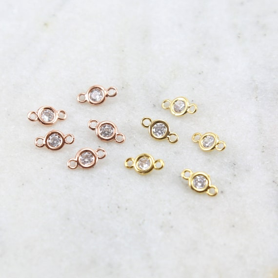 5 Teeny Tiny Gold or Rose Gold Rhodium Plated 5mm CZ Cubic Zirconia Connector Charm Necklace Link