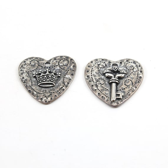 Large Sterling Silver Heart Charm with 3D Key or Crown Love Friendship Royalty Princess Queen Pendant
