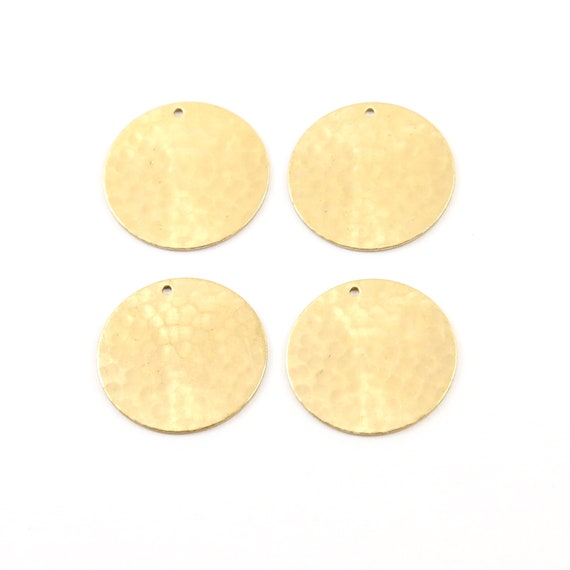 4 Pieces 22mm Raw Brass Hammered Textured Coin Circle Round Charm Stamping Blank Pendant