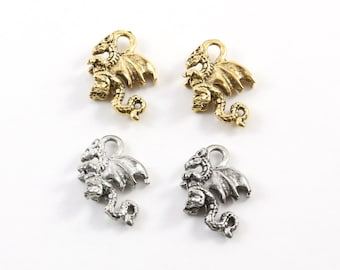 2 Pieces Pewter Small Dragon Charms Fantasy Medieval Magic Mystical Creature Pendant in Antique Gold, Antique Silver