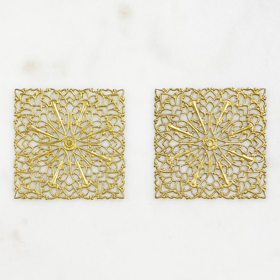2 Piece Filigree Raw Brass Square Shaped Medallion Unique Jewelry Making Supplies