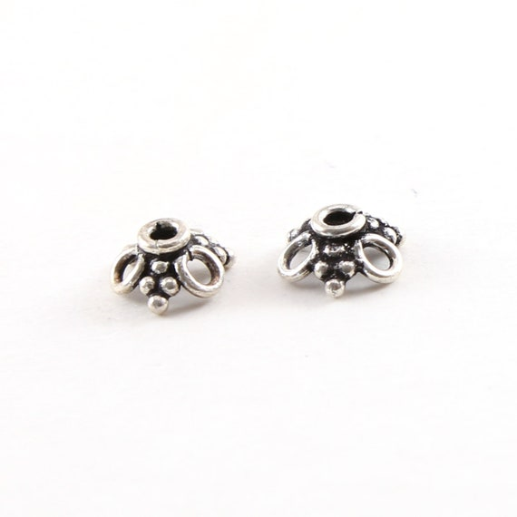 2 Pieces 2.5mm x 10mm Sterling Silver Flower Bali Style Open Loop Bead Cap Jewelry Making Supplies