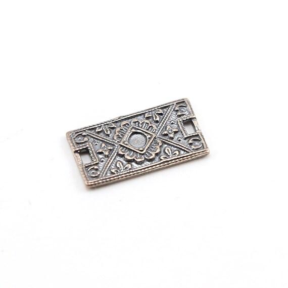 Sterling Silver Ornate Art Deco Imprint Design Rectangle Bar Plate Charm Connector Link
