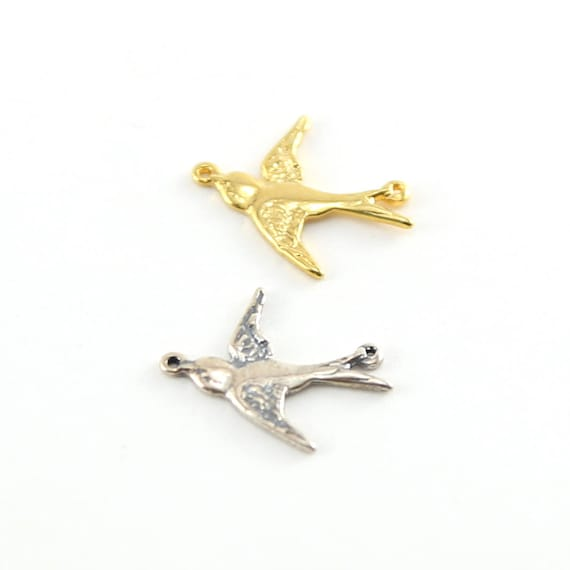 Bird Connector Charm Sparrow Nature Pendant in Sterling Silver and Vermeil gold