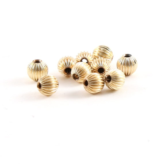 10 Pieces 5mm Corrugated Seamless Round 14K Gold Filled Spacer Beads
