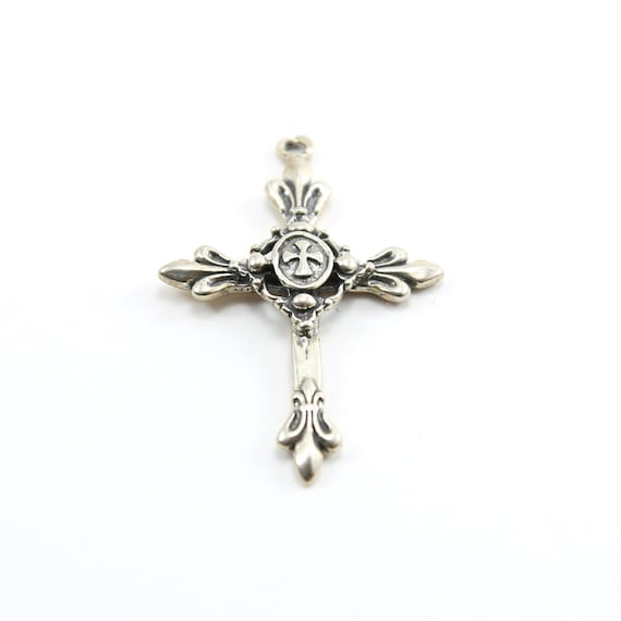 Sterling Silver Large Fancy Fleur De Lis Detailed  Thick Sturdy Cross Charm Pendant Religious Spiritual Catholic Pendant