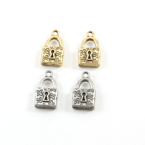 2 Pieces Pewter Floral Pad Lock Key Charm with Flowers Jewelry Making Supplies Necklace Pendant