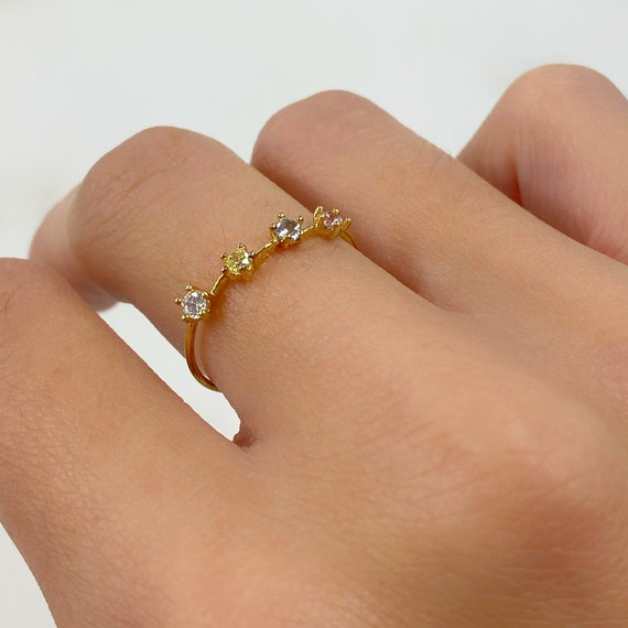 4 Stone Rainbow CZ Ring Gold Plated Thin Band with Pink, Blue, Green, Clear Stone Stackable Ring Choose Your Size