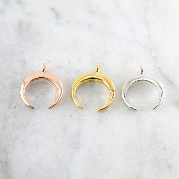 Horn Upside Down Crescent Moon Charm in Sterling Silver, Rose Gold, Or Vermeil Gold, Modern Moon Pendant
