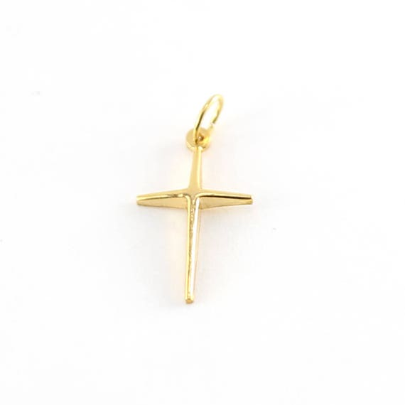 14K Gold Filled Plain Cross Charm Religious Spirtual Pendant